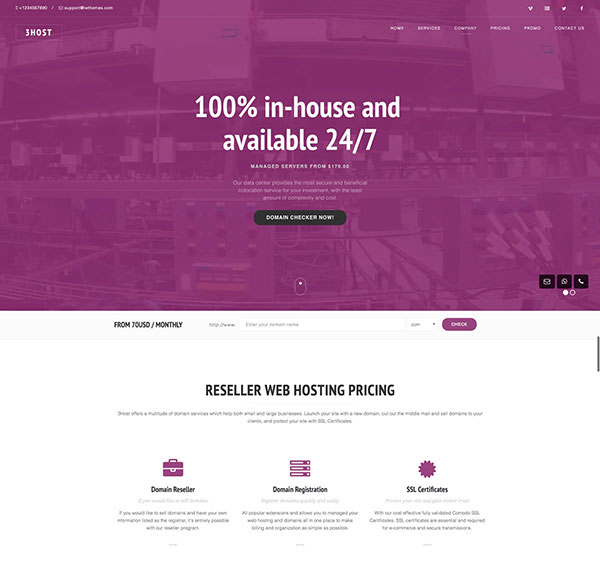 Hosting Domain Landing Page with WHMCS | 3Host