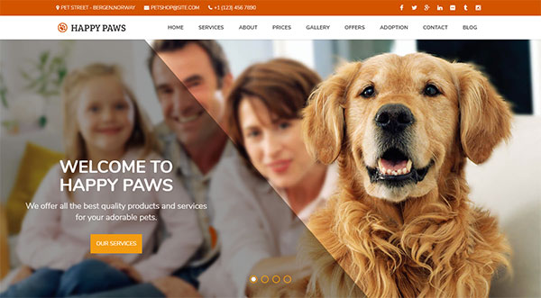 Happy Paws - One Page WordPress Theme