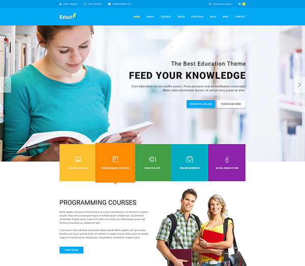 Estut | Education WordPress Theme - Material Design - Online Course E-Learning - eCommerce