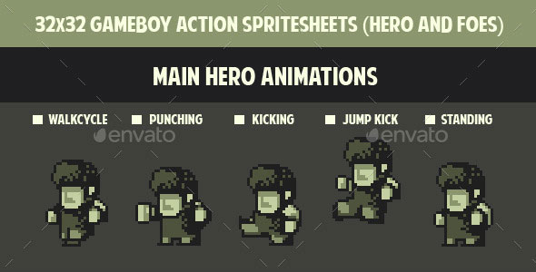 32 x 32 Gameboy Spritesheets ( Hero and Foes )