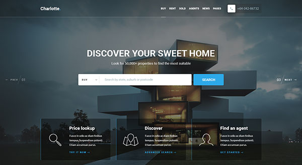 Charlotte - Real Estate PSD Template