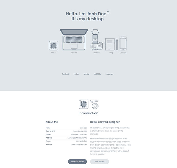 MyDesktop – One Page Personal CV/Resume Template