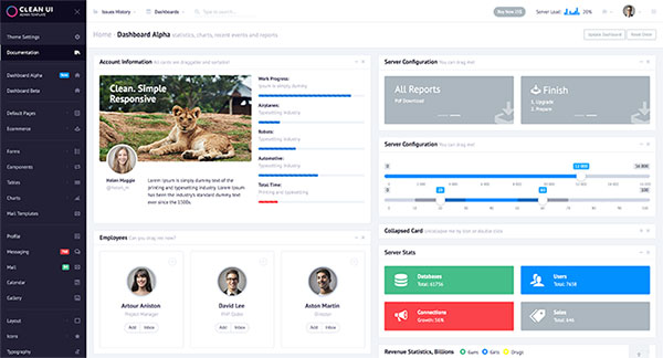 Clean UI Admin Template Modular + Trendy Design + Modules Market + BEM + Angular 4 + Visual Builder