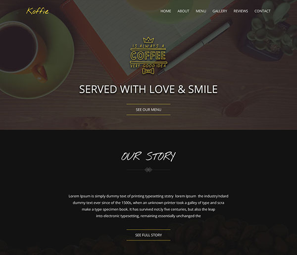 Koffie One Page HTML Landing Page