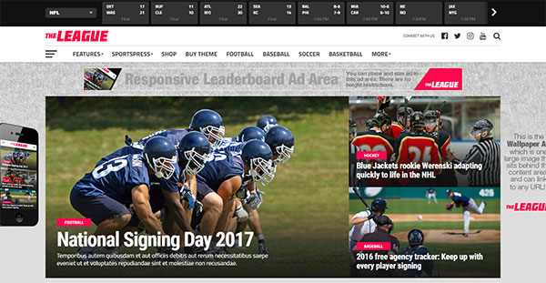 The League - Sports News & Magazine WordPress Theme