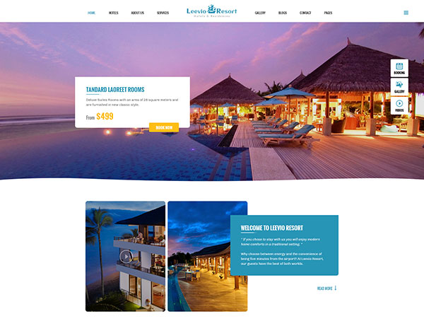Leevio & Resort, Hotel, Travel PSD Template