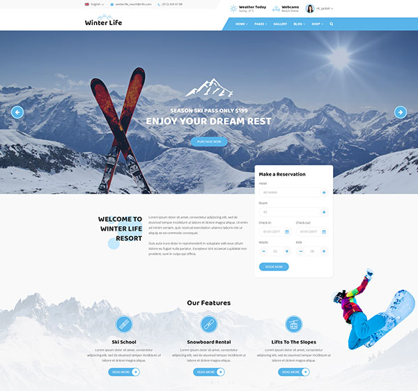 Winter Life - Resort & Listing PSD Template