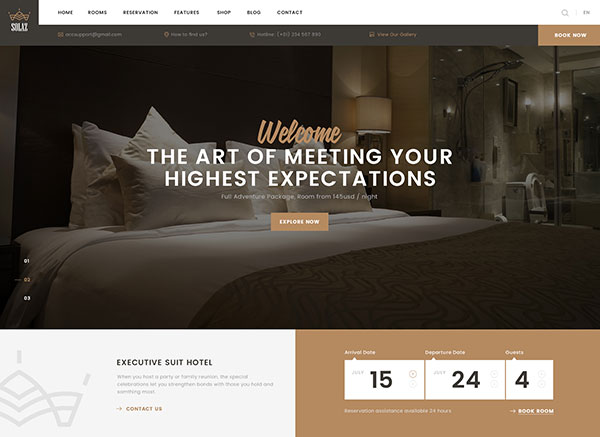 Solaz - An Elegant Hotel & Lodge PSD Template