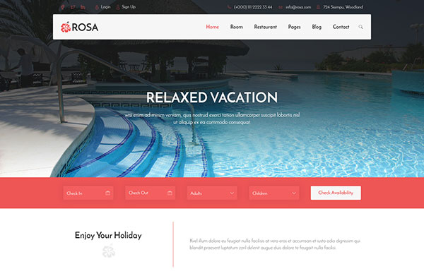 ROSA - Hotel Reservation & Restaurant PSD Template