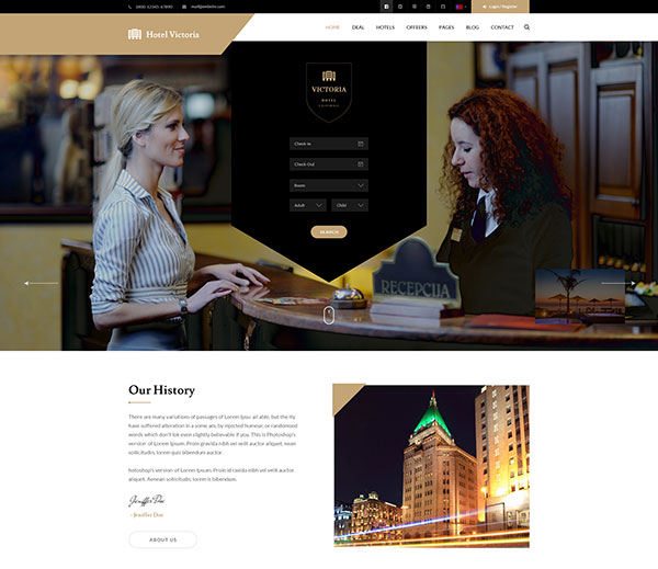 Hotel Victoria - Hotel & Resort Bootstrap PSD Template