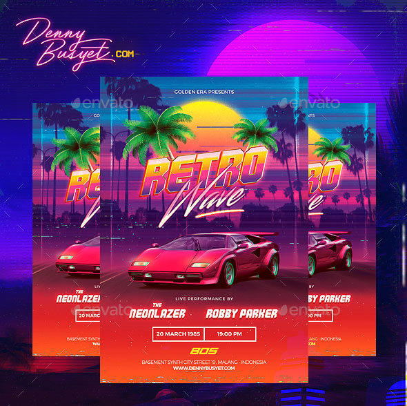 Retrowave 80s Synthwave Flyer
