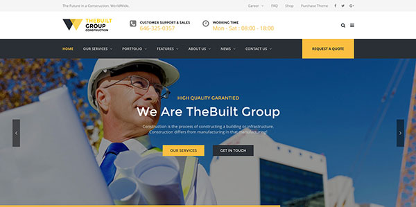 TheBuilt - Construction, Architecture & Building Business WordPress theme