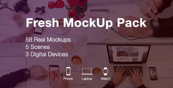 Fresh Mockup Pack // Phone, Laptop, Watch Devices