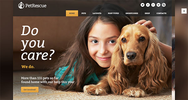 Pet Rescue - Animals and Shelter Charity WP Theme