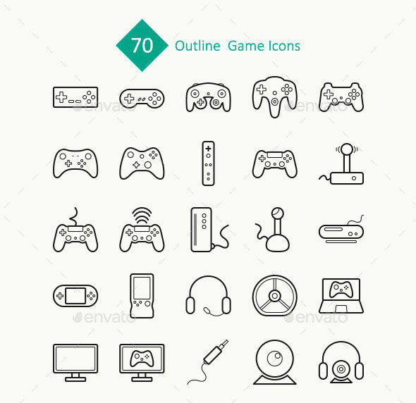 70 Outline Game Icons
