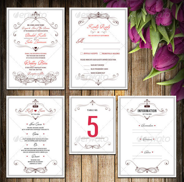 Wedding Invitation Package - Flowery Love