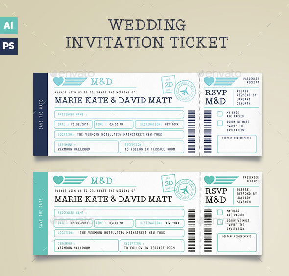Wedding Invitation Ticket