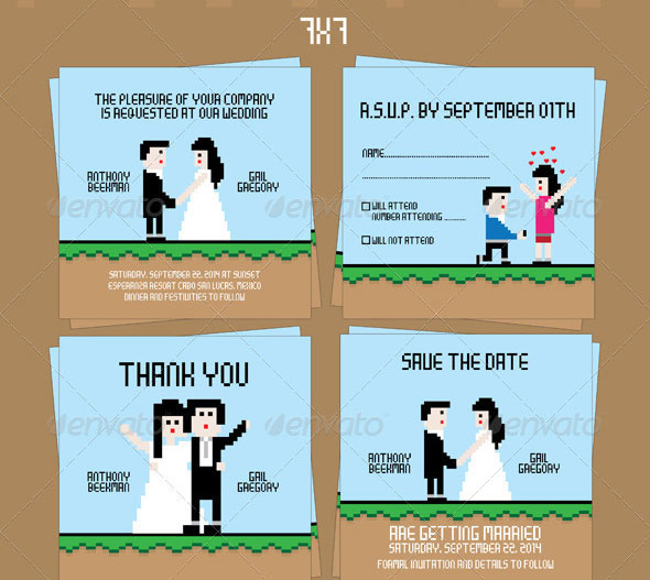 8 Bit Wedding Invitation Set