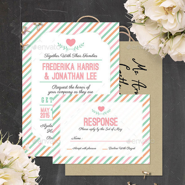 Stripes Wedding Invitation - PSD Template