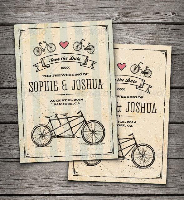 Retro Bicycles Save The Date Card