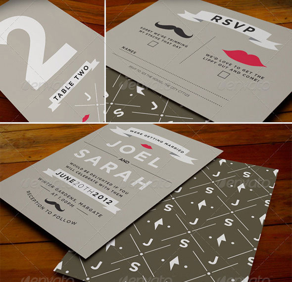 Stash & Kiss Wedding Stationery Invite Template