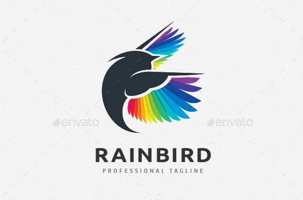Colorful Feather Bird Logo