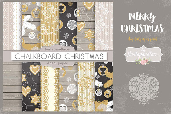 Merry Christmas digital paper pack