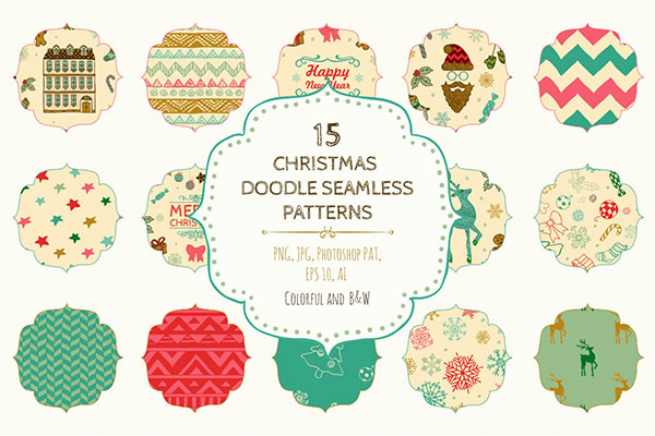 15 Christmas Seamless Patterns