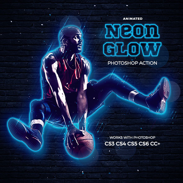 Neon Glow Photoshop Action - Animated