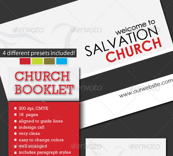 A5 Church Booklet Template - 16 Pages