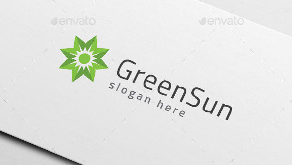Green Leaf Sun - Eco Energy Logo