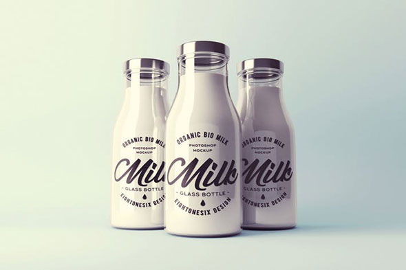 Realistic Milk Bottle Mock-Up Pack