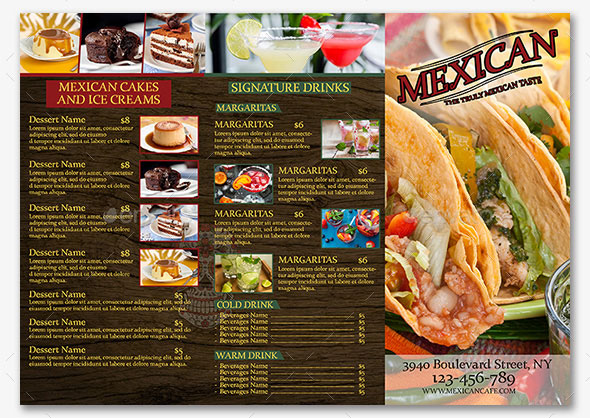 Mexican Trifold Menu