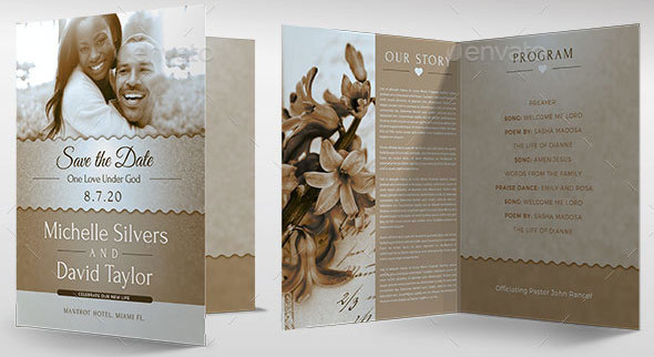 Vintage Wedding Program Template