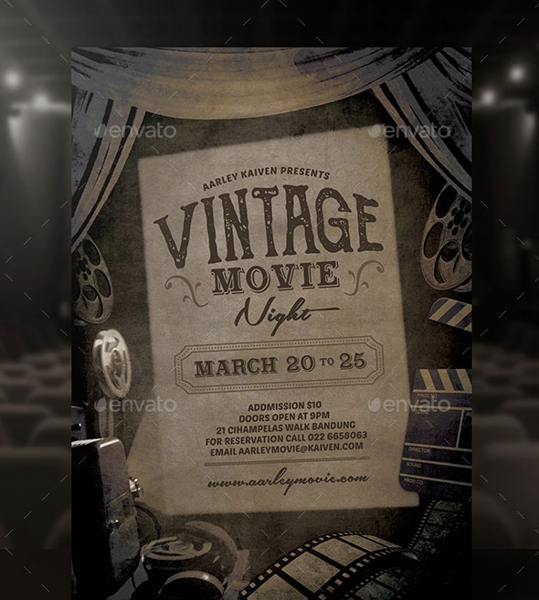 Vintage Movie Night Flyer