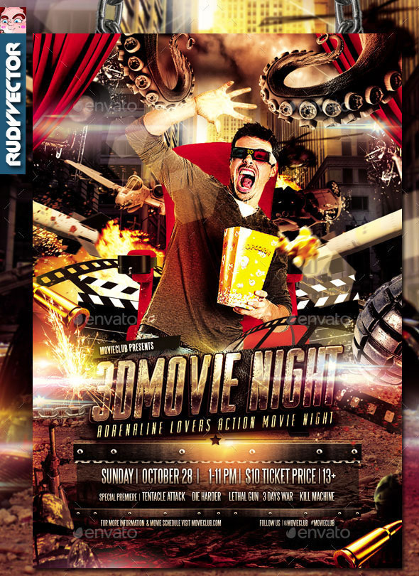 3D Action Movie Night Flyer Design