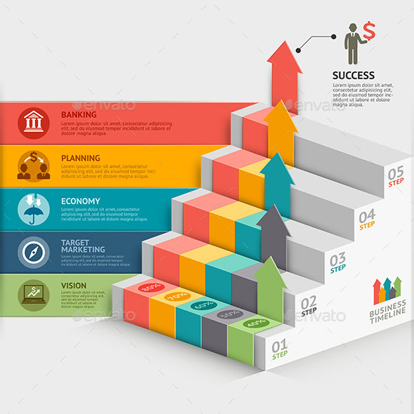 3d Business Staircase Infographics Template.
