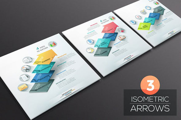 3 Isometric Infographic Arrows
