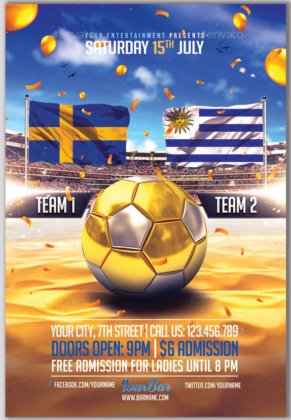 Summer Soccer Cup | 2in1 PSD Flyer Templates